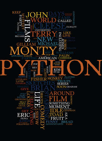 MONTY PYTHON TOP COMEDY FILMS Text Background Word Cloud Concept
