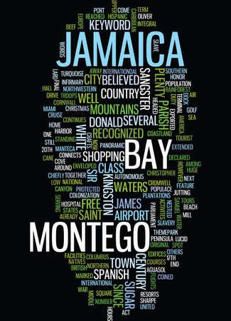 Montego Bay in Giamaica testo sfondo Word Cloud Concept Archivio Fotografico - 82624756