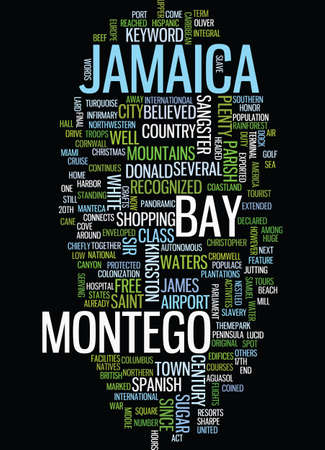 MONTEGO BAY IN JAMAICA Text Background Word Cloud Concept