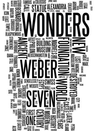 MODERN WONDERS Text Background Word Cloud Concept
