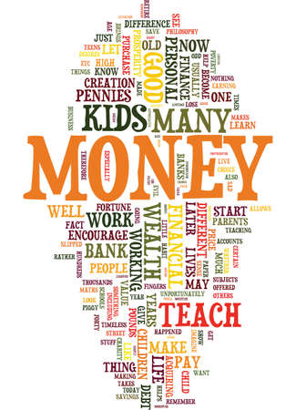 TEACH YOUR KIDS HOW TO LOOK AFTER MONEY Text Background Word Cloud Concept Illustration