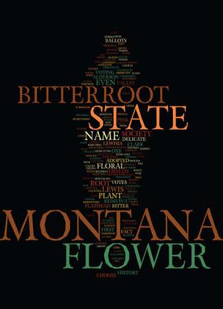 몬타나 상태 꽃 단어 배경 단어 구름 개념