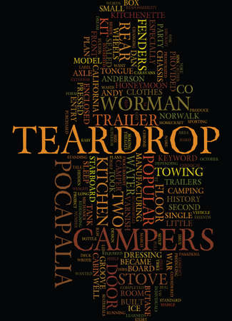 TEARDROP CAMPERS Text Background Word Cloud Concept Ilustração