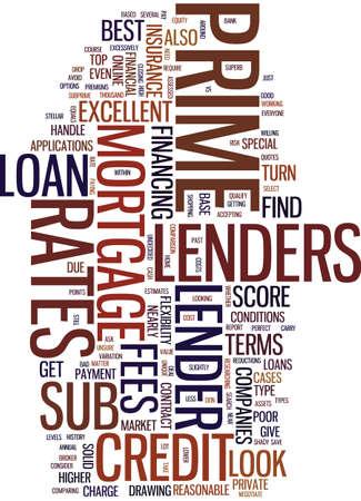 住宅ローン会社プライム貸し手 VS サブ主な貸方テキスト背景単語雲概念  イラスト・ベクター素材