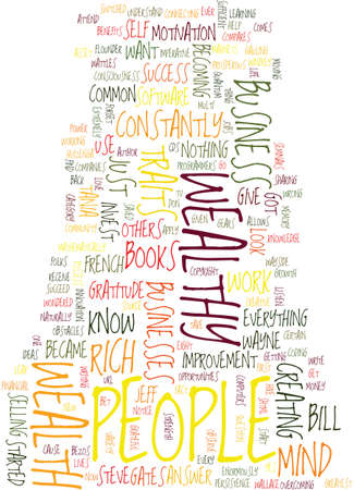 MONEY AND SUCCESS TRAITS OF EXTREMELY WEALTHY PEOPLE Text Background Word Cloud Concept