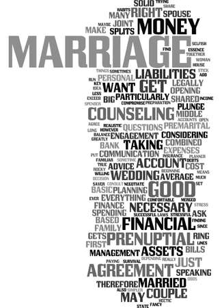 MONEY AND MARRIAGE Text Background Word Cloud Concept Иллюстрация