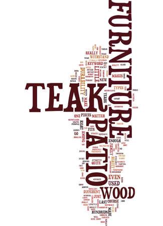 TEAK PATIO MEUBILAIR GEBRUIK EN ZORG Tekstachtergrond Word Cloud Concept