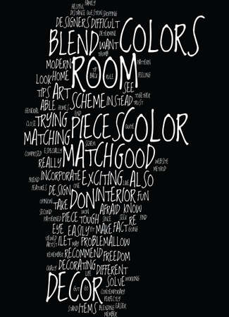 MODERN DECOR TIP BLEND NOT MATCH Text Background Word Cloud Concept Illustration