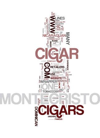 MONTECRISTO CIGARS Text Background Word Cloud Concept