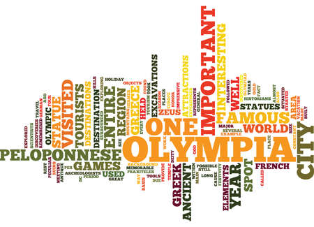 THE ANCIENT OLYMPIA Text Background Word Cloud Concept