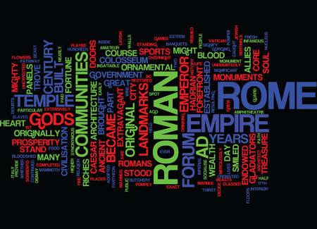 DE OUDE SITES VAN ROME-Tekst Achtergrondword Wolkenconcept Stock Illustratie