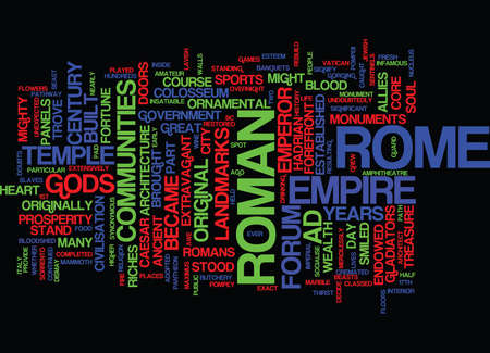 THE ANCIENT SITES OF ROME Text Background Word Cloud Concept