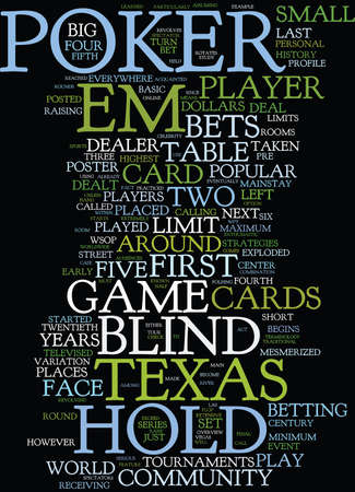 TEXAS HOLD EM AN OVERVIEW Text Background Word Cloud Concept Illustration