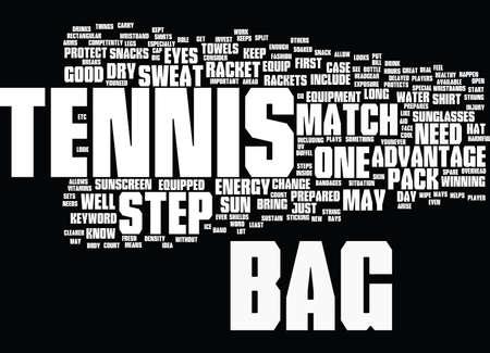 TENNIS BAG Text Background Word Cloud Concept