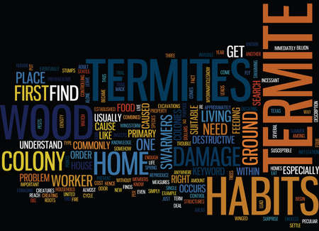 TERMITE HABITS Text Background Word Cloud Concept Ilustração