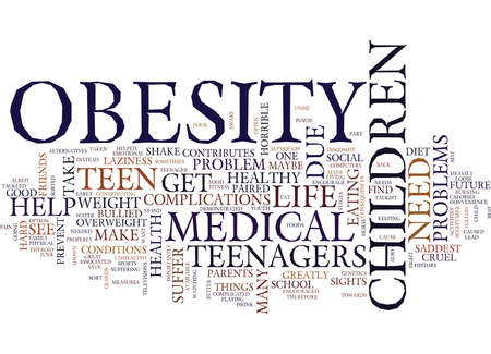 TEEN YOUTH OBESITY Text Background Word Cloud Concept
