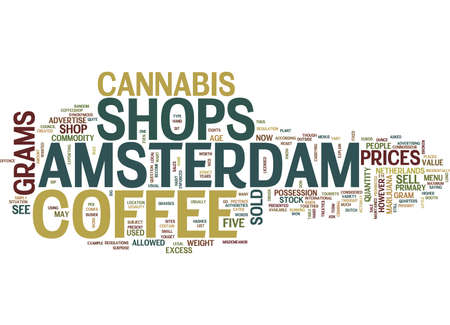 THE AMSTERDAM COFFEE SHOP Text Background Word Cloud Concept