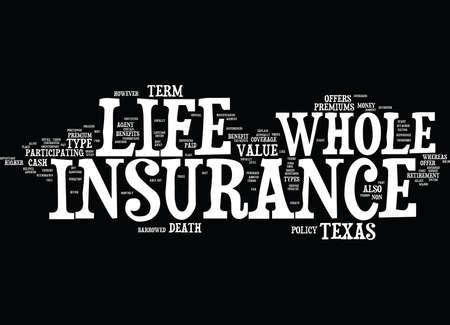 テキサス州全体の生命保険本文背景単語雲概念