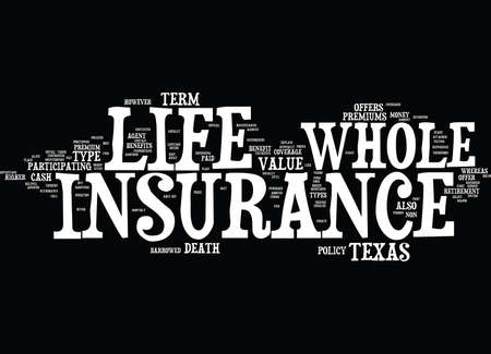 TEXAS WHOLE LIFE INSURANCE Text Background Word Cloud Concept Ilustrace