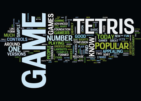 quickly: TETRIS THE GAME OF THE PAST AND THE FUTURE Text Background Word Cloud Concept