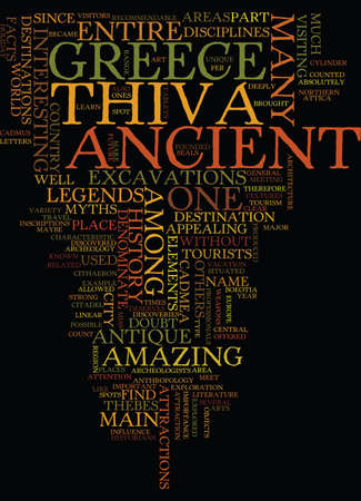 THE ANCIENT THIVA Text Background Word Cloud Concept