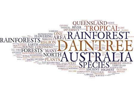 DIE ALTE SCHÖNHEIT VON AUSTRALIEN S DAINTREE RAINFOREST Text-Hintergrund-Wort-Wolken-Konzept Standard-Bild - 82628435