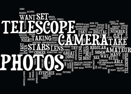 TELESCOPE PHOTOS Text Background Word Cloud Concept