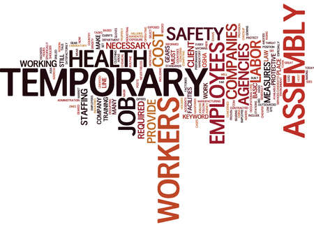 TEMPORARY ASSEMBLY WORKERS JOB Text Background Word Cloud Concept