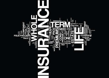 TERM VS WHOLE LIFE INSURANCE Text Background Word Cloud Concept