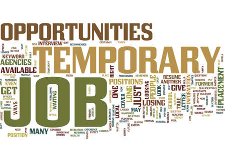 TEMPORARY JOB OPPORTUNITIES Text Background Word Cloud Concept 向量圖像
