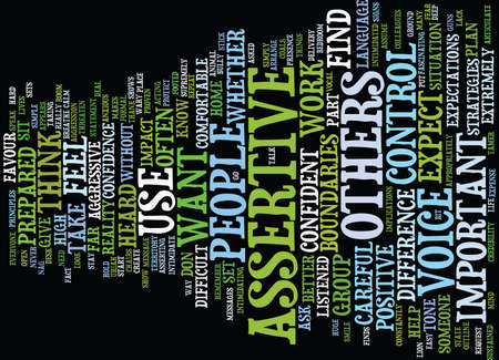 TEN STRATEGIES TO HELP YOU BE ASSERTIVE Text Background Word Cloud Concept
