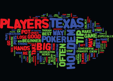 TEXAS HOLD EM TIPS Text Background Word Cloud Concept