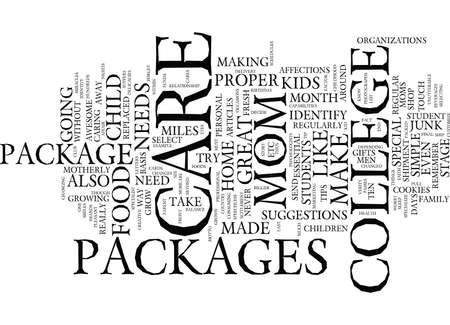 TEN ESSENTIAL TIPS TO MAKE GREAT COLLEGE CARE PACKAGES Text Background Word Cloud Concept