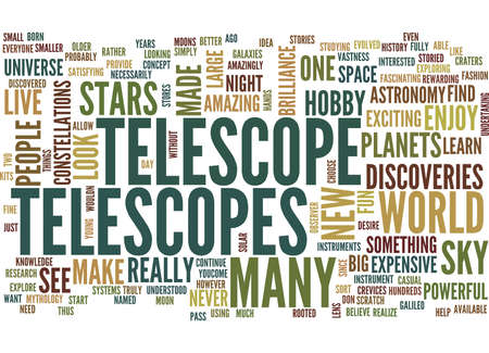 TELESCOPES Text Background Word Cloud Concept