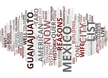 quickly: THE AND ONE REASONS WE LIVE IN MEXICO Text Background Word Cloud Concept Illustration