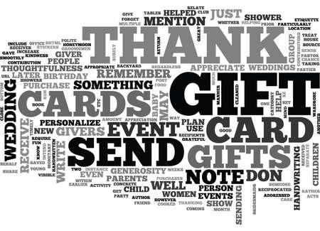 THANK YOU CARD ETIQUETTE Text Background Word Cloud Concept