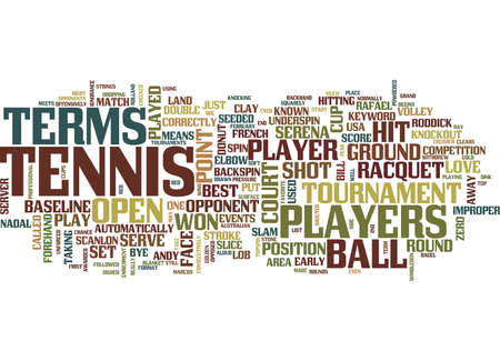 TENNIS TERMS Text Background Word Cloud Concept