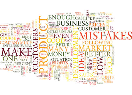 TEN ENTREPRENEURIAL MISTAKES Text Background Word Cloud Concept