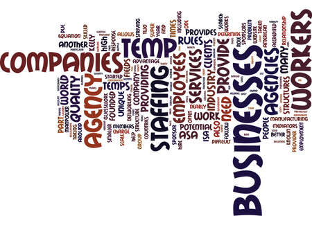 TEMP AGENCY COMPANIES Text Background Word Cloud Concept Illustration