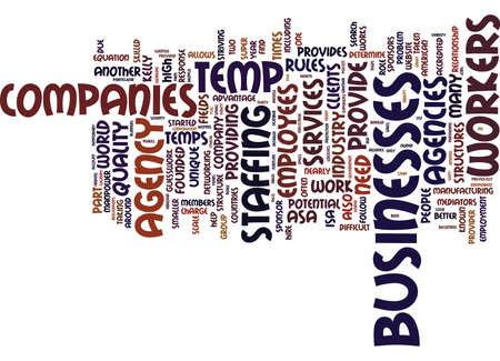 TEMP AGENCY COMPANIES Text Background Word Cloud Concept Ilustração