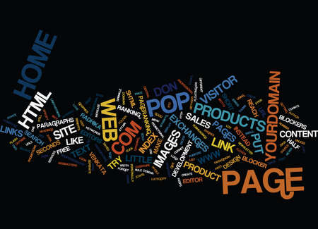 TEN TIPS FOR YOUR WEB SITE HOME PAGE Text Background Word Cloud Concept