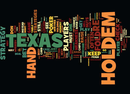 TEXAS HOLDEM STRATEGIES Text Background Word Cloud Concept