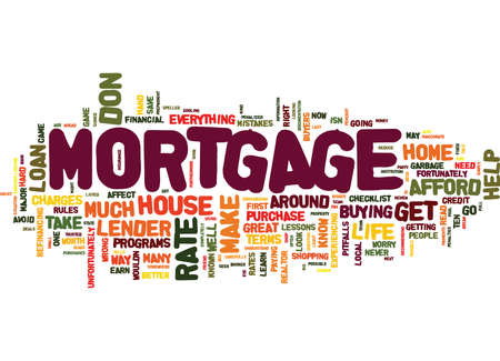 TEN MISTAKES AND HOW THEY CAN AFFECT YOUR MORTGAGE Text Background Word Cloud Concept