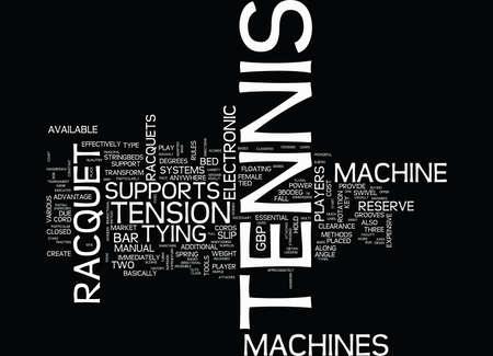 테니스 라켓 머신 텍스트 배경 워드 클라우드 개념