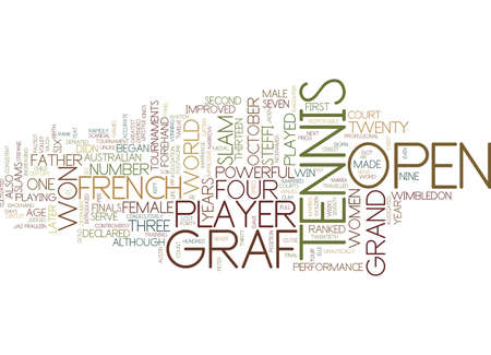 TENNIS LEGENDS STEFFI GRAF Text Background Word Cloud Concept Ilustração