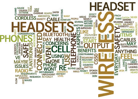 TELEPHONE HEADSETS WIRELESS HEADSETS ARE THEY SAFE Text Background Word Cloud Concept Illustration