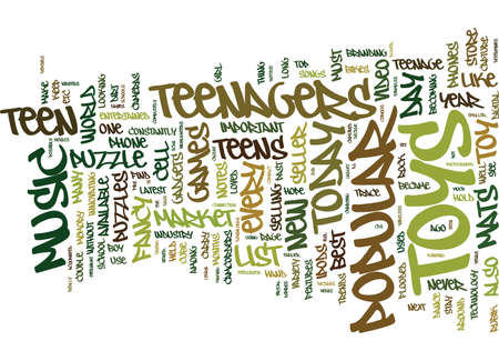 TEEN TOYS WHAT S IN AND WHAT S OUT Text Background Word Cloud Concept Illustration