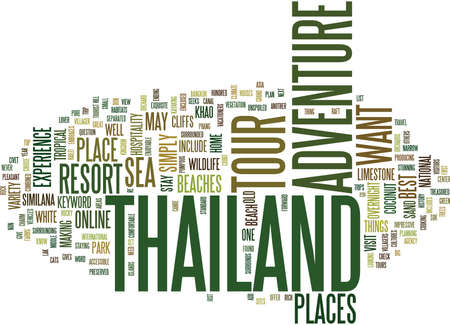THAILAND ADVENTURE TOUR Text Background Word Cloud Concept Иллюстрация