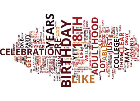 TH BIRTHDAY Text Background Word Cloud Concept Ilustração