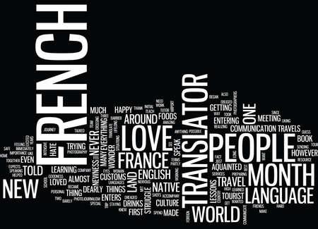 GODHEID DANK VOOR ONZE FRANSE VERTALER Tekstachtergrond Word Cloud Concept